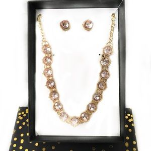 Pink Crystal Set Includes Necklace Earrings